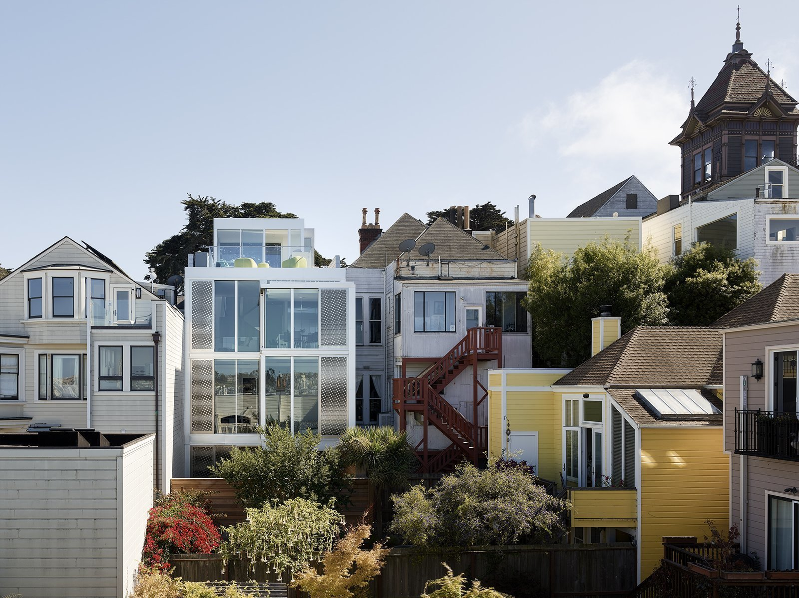 After: Alamo Square Residence Neighborhood view showing the back of the featured modern home renovation