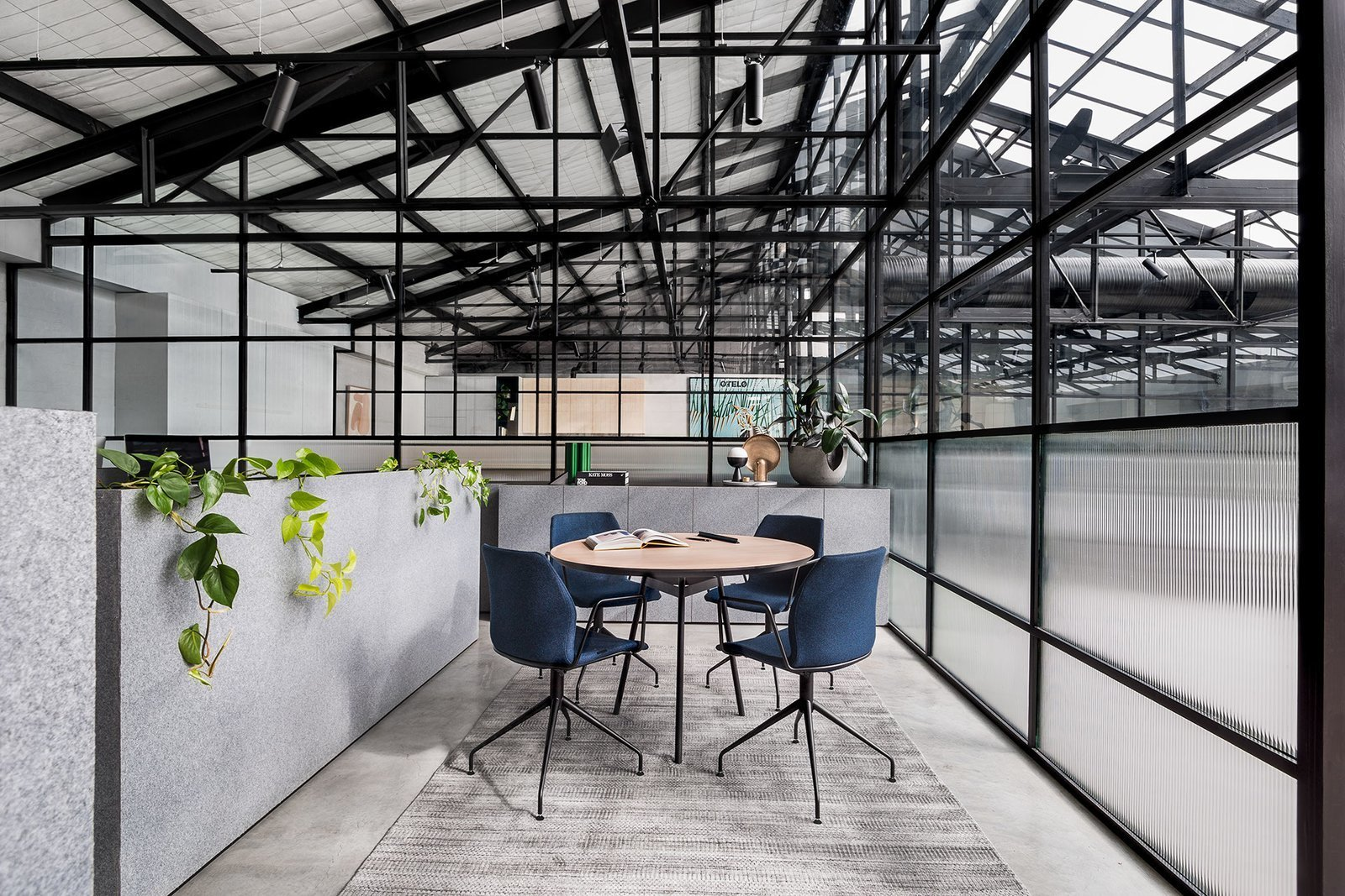 Office, Study Room Type, Chair, Storage, Rug Floor, and Concrete Floor  Photo 4 of 14 in An Art Deco Warehouse in Melbourne Is Converted Into a Shared Office Space