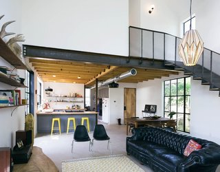 Completed in 2014 by Pavonetti Office of Design, the Garden Street house showcases a modern, industrial-barn aesthetic.