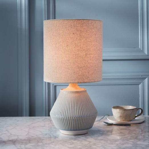 Roar + Rabbit Ripple Ceramic Table Lamp – Small Narrow (Cool Gray)