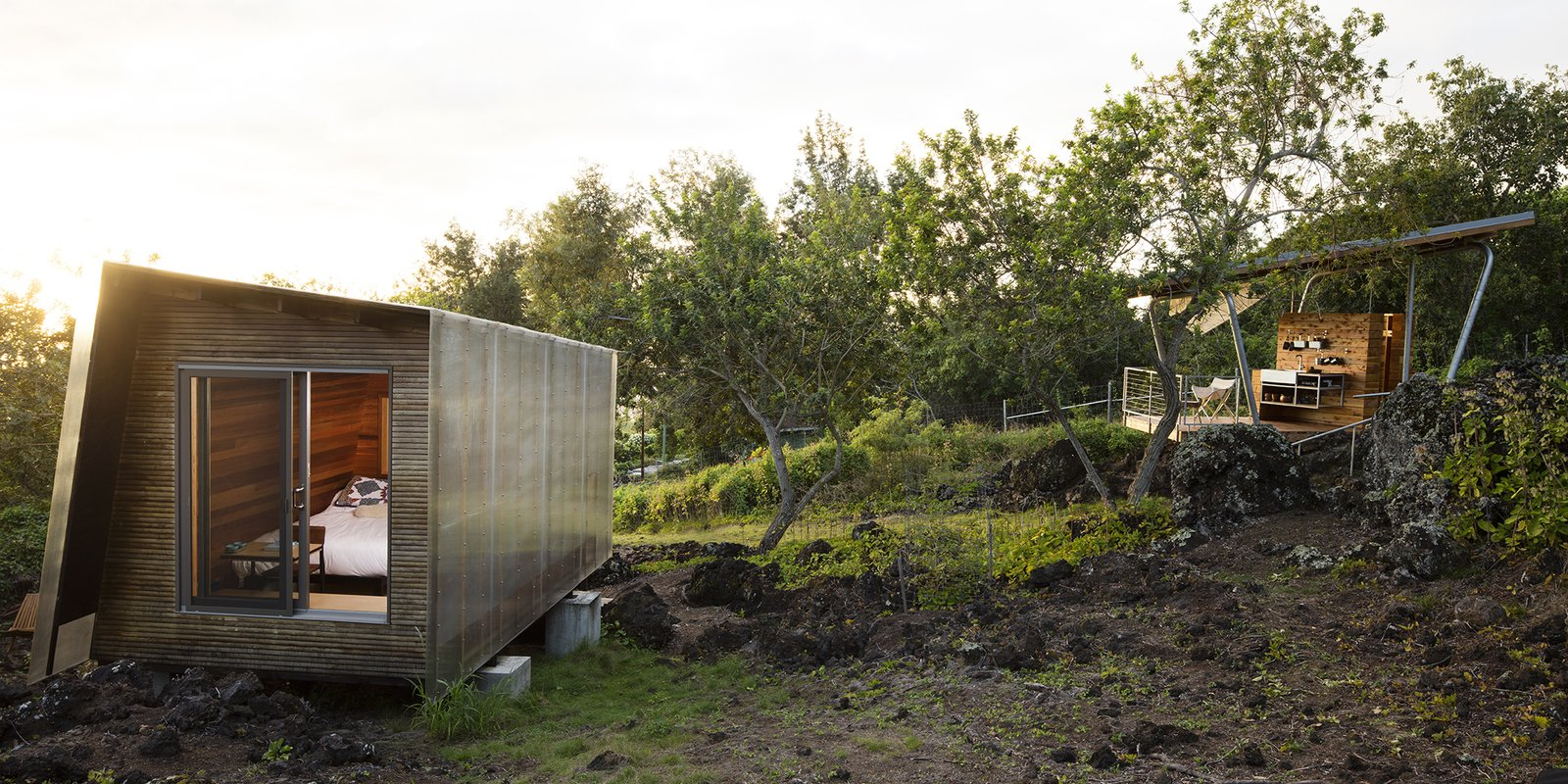 Shed & Studio and Living Space Room Type Maui, Hawaii Dwell Magazine : September / October 2017  Photo 1 of 9 in Two Tiny Pavilions Respectfully Perch Atop a Lava Flow on Maui