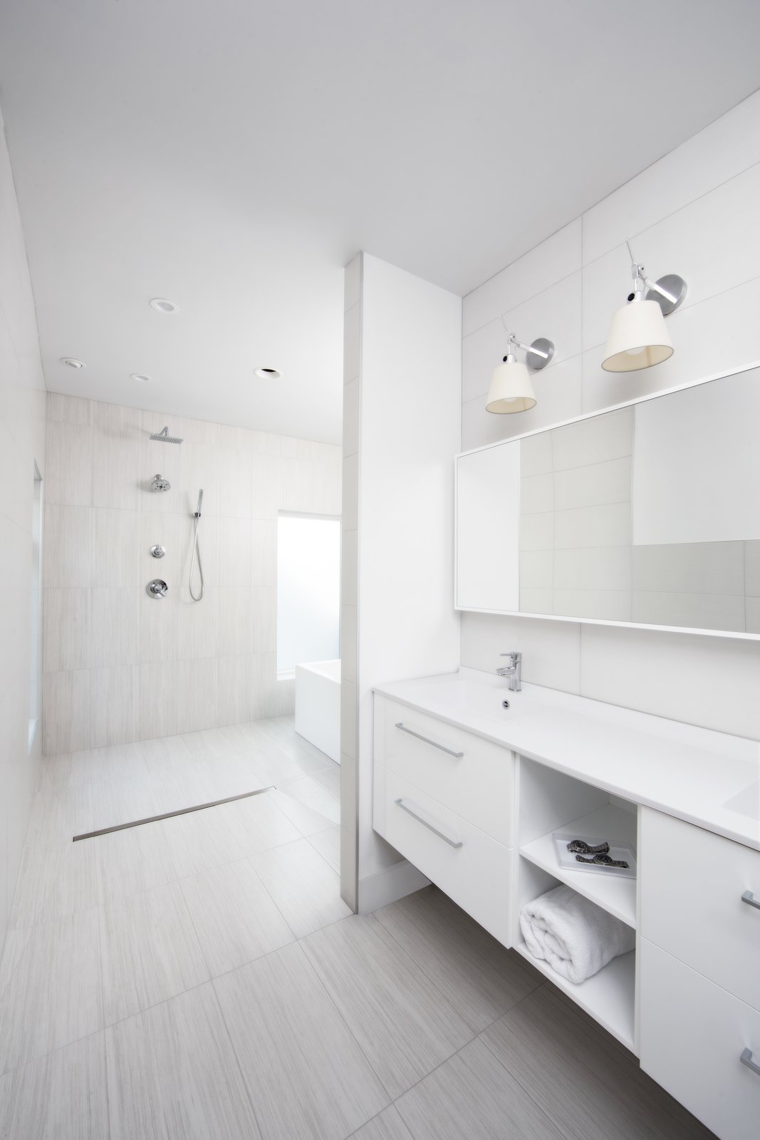 Bath Room, Open Shower, and Wall Lighting  Photo 8 of 12 in Clad in Cedar and Metal, an Indianapolis Home Gives a Modern Salute to its Traditional Surroundings