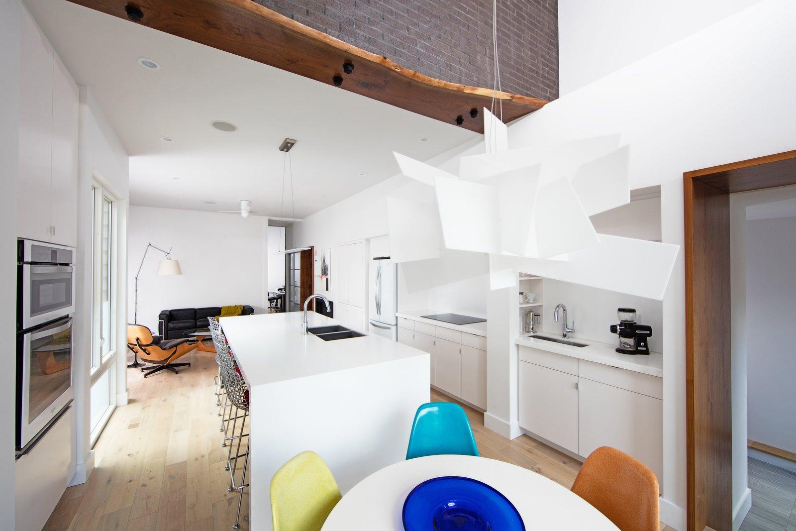 Kitchen, White Cabinet, Pendant Lighting, and Light Hardwood Floor  Best Photos