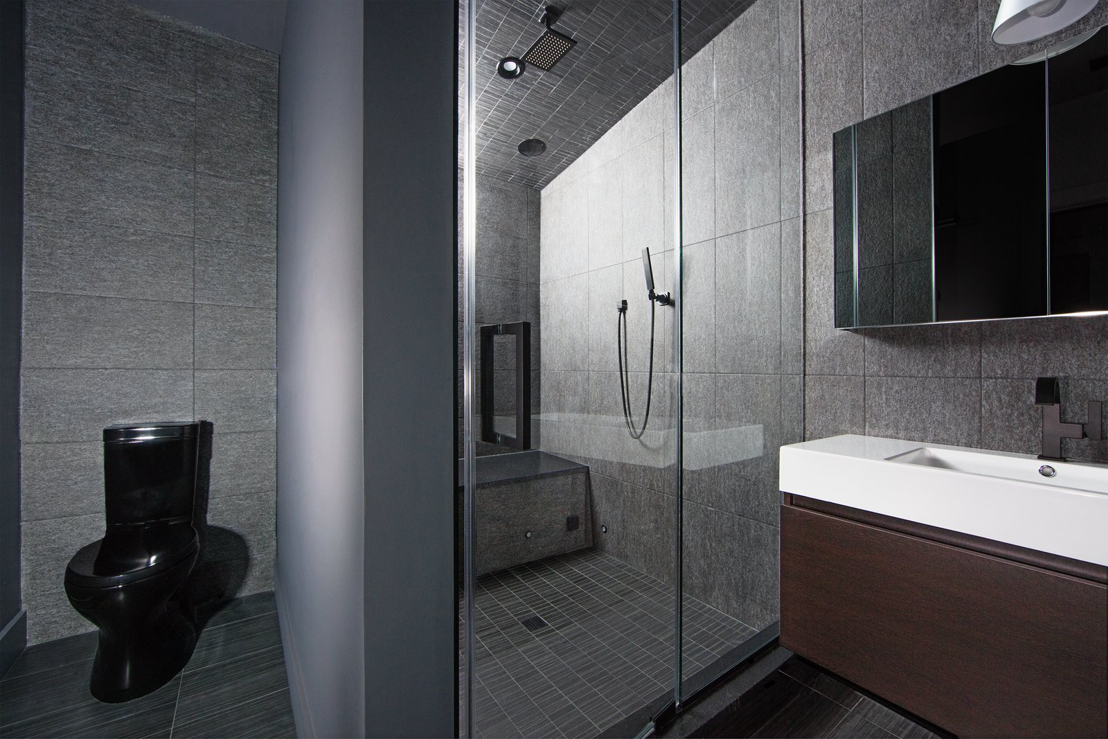 Bath, Enclosed, Wall, One Piece, Ceiling, Recessed, and Vessel  Best Bath Ceiling Enclosed Vessel One Piece Photos from Clad in Cedar and Metal, an Indianapolis Home Gives a Modern Salute to its Traditional Surroundings