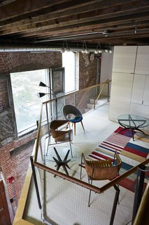 The loft is accessible from a mezzanine above the green room.