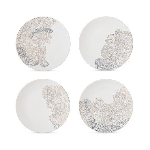 Modern by Dwell Magazine Stoneware Salad Plates - Gold Waves (Set of 4)