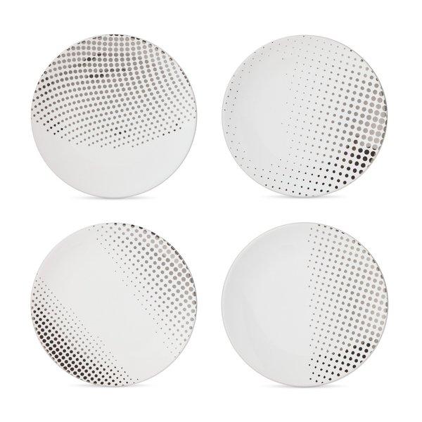 Modern by Dwell Magazine Stoneware Salad Plates - Metallic Dot (Set of 4)