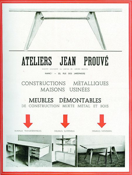 Jean Prouvé (1901-1984) opened his first workshop in Nancy, France, making wrought iron grilles and doors.</p><p><br> Advertisement from the Ateliers Jean Prouvé, in L'Architecture d'Aujourd'hui No. 2, July-August 1945 ©D.R.