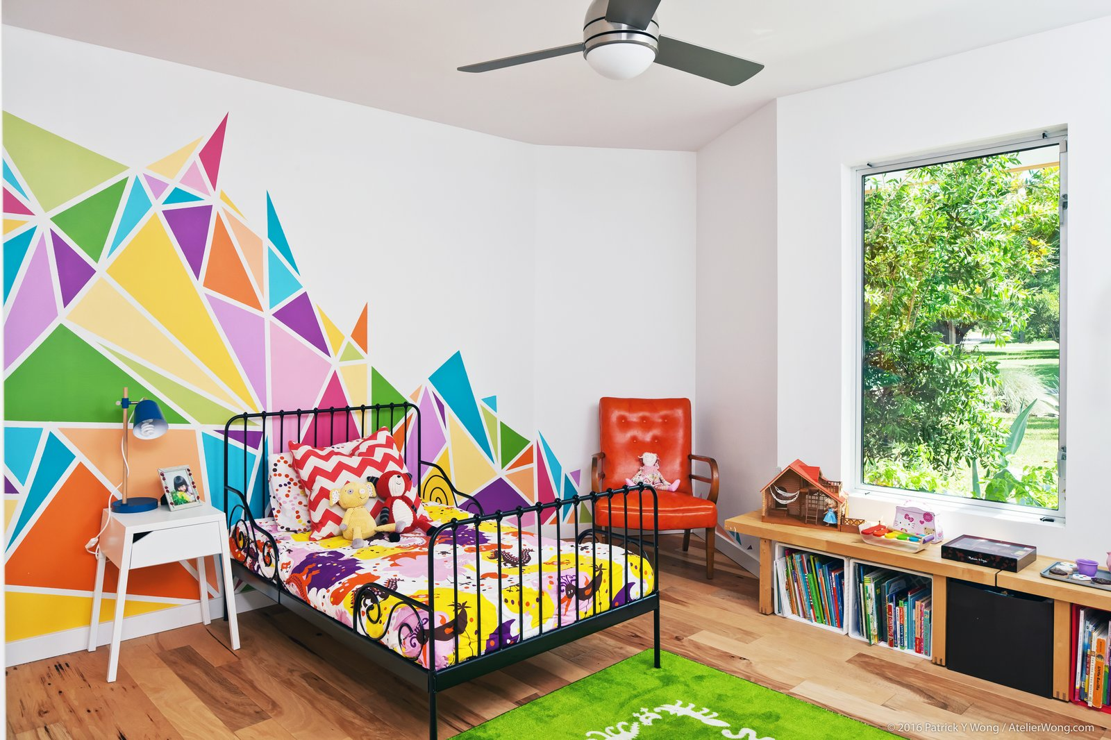 Kids, Bedroom, Bed, Night Stands, Chair, Medium Hardwood, and Pre-Teen  Best Kids Chair Medium Hardwood Photos from An Austin Couple Turn a Ranch Home Into a Refreshing Live/Work Space
