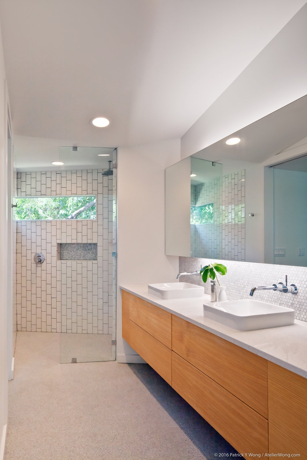 Bath Room, Subway Tile Wall, Wood Counter, Vessel Sink, Enclosed Shower, and Open Shower  Photo 11 of 14 in An Austin Couple Turn a Ranch Home Into a Refreshing Live/Work Space