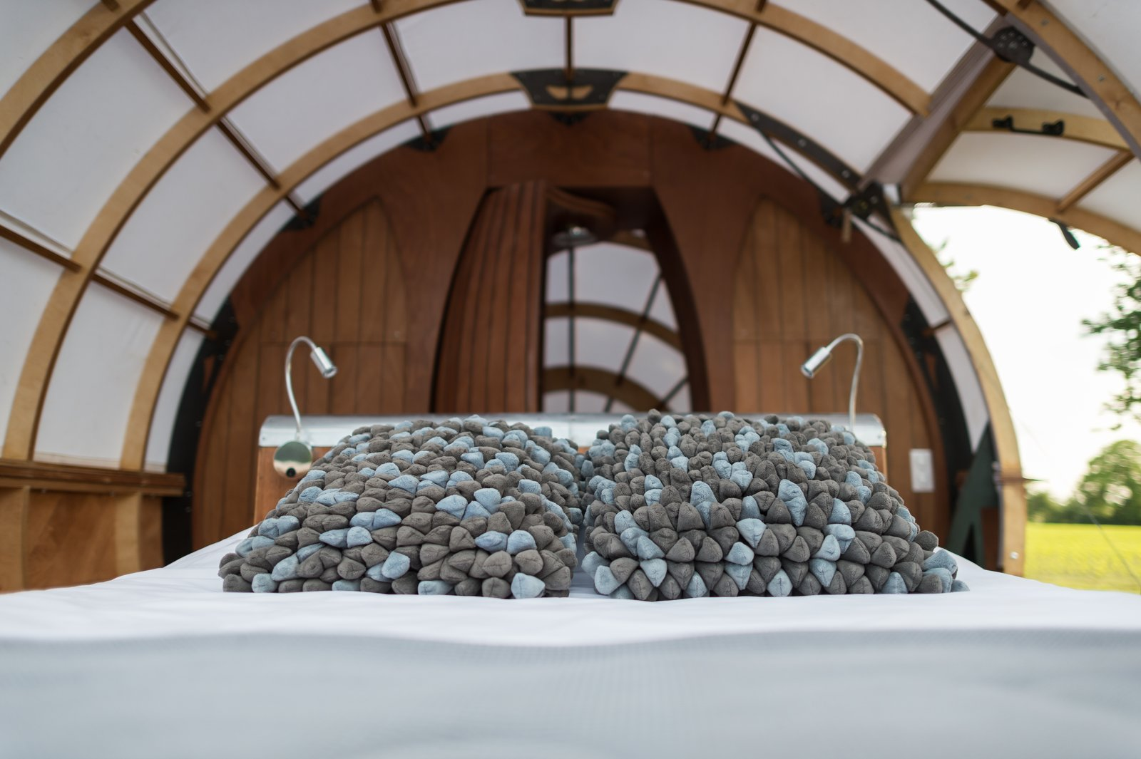 Bedroom, Bed, and Accent Lighting  Photo 3 of 7 in A Fantastic Egg-Shaped Camping Pod Along the Loire Estuary
