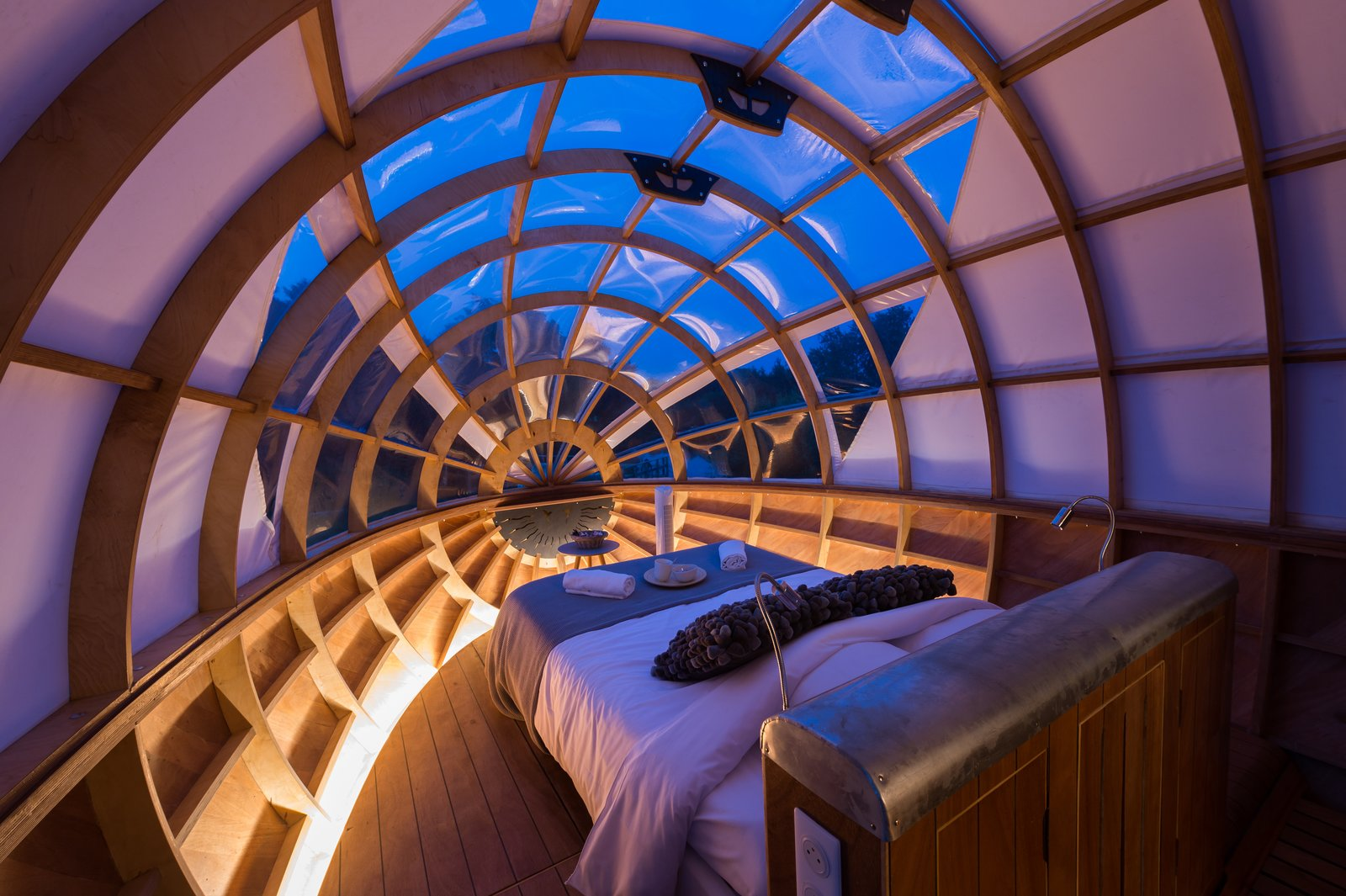 Bedroom, Bed, Accent Lighting, and Medium Hardwood Floor  Photo 4 of 7 in A Fantastic Egg-Shaped Camping Pod Along the Loire Estuary