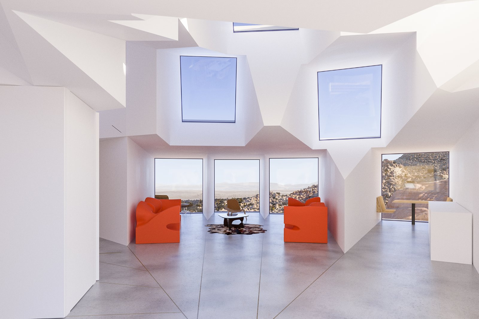 Windows and Metal  Best Photos from A Film Producer's Desert Retreat Is a Starburst of Shipping Containers