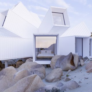 A previously unrealized design by Whitaker Studio will become a vacation home in Joshua Tree, each shipping container strategically angled for protection from the climate, privacy, and desert views. Shipping containers, angled in various directions to capture views or provide privacy, will make up the exoskeleton of the residence. The approximately 2,000-square-foot home will include three ensuite bedrooms, a kitchen, and a living room. A garage with a solar panel roof will power the dwelling. Nestled in a gully created by stormwater, Joshua Tree Residence engages with the topography and climate for a dynamic desert escape.