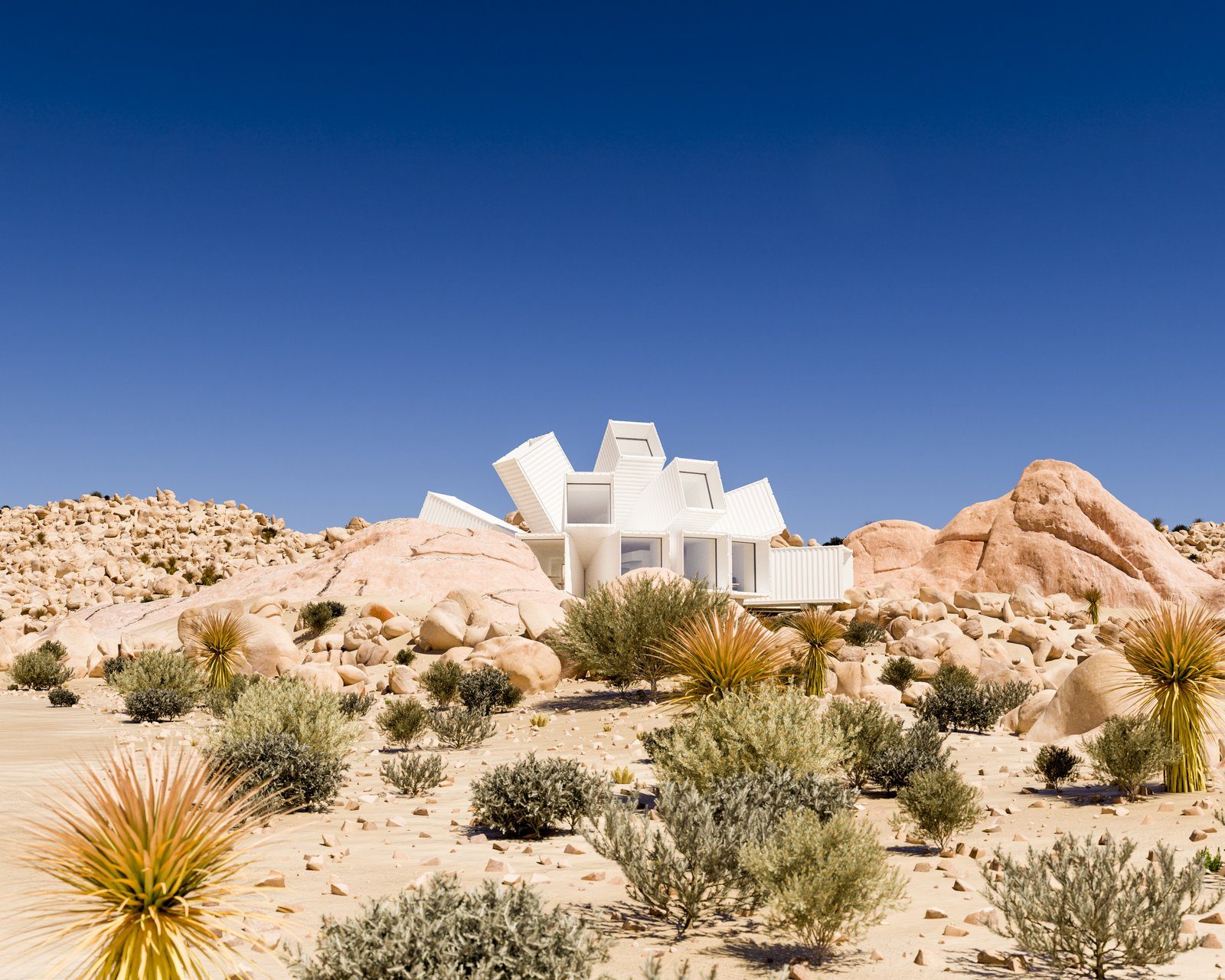 Exterior, Shipping Container Building Type, Metal Roof Material, and Metal Siding Material  Best Photos from A Film Producer's Desert Retreat Is a Starburst of Shipping Containers