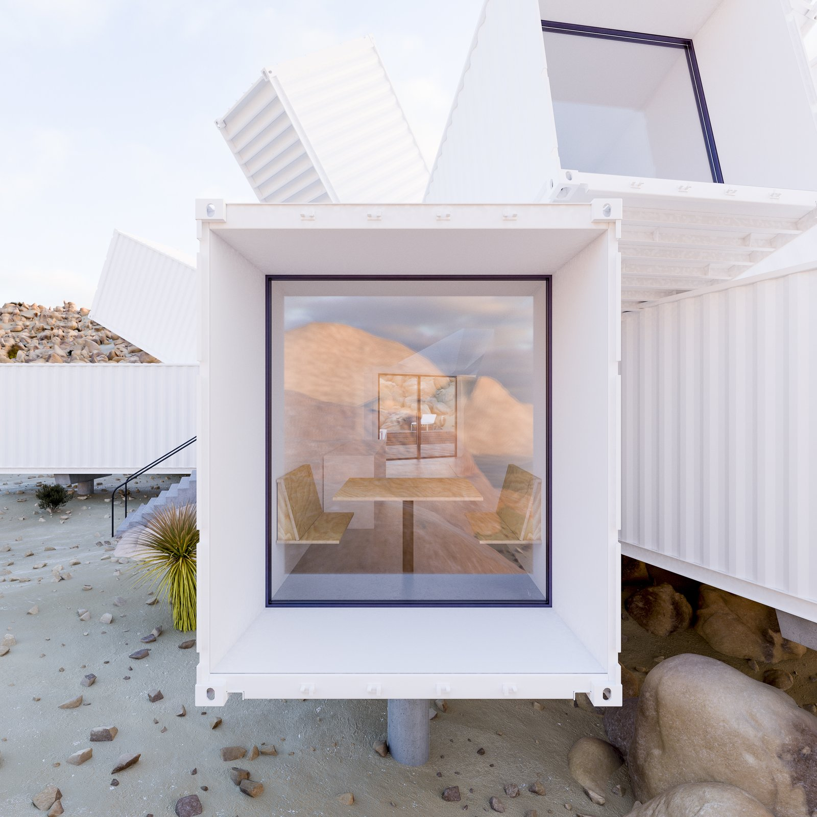 Windows  Photos from A Film Producer's Desert Retreat Is a Starburst of Shipping Containers