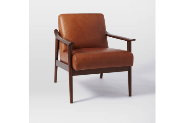 West Elm Midcentury Leather Show Wood Chair