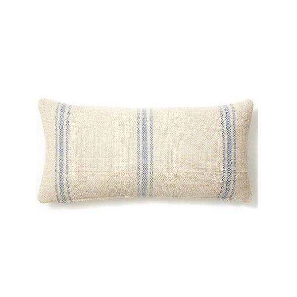 Striped 12x24 Linen-Blend Pillow, Blue