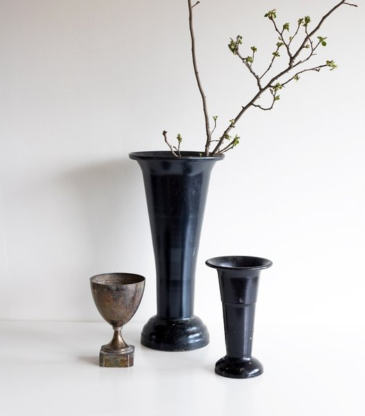 Vintage Black Florist Vase