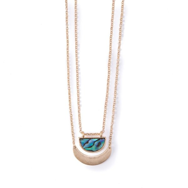 Seven Sisters Abalone Crescent Necklace