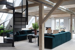 A fireplace and central heating keeps the open space warm and inviting.