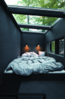 The sleeping area features skylights that allow for stargazing at night.
