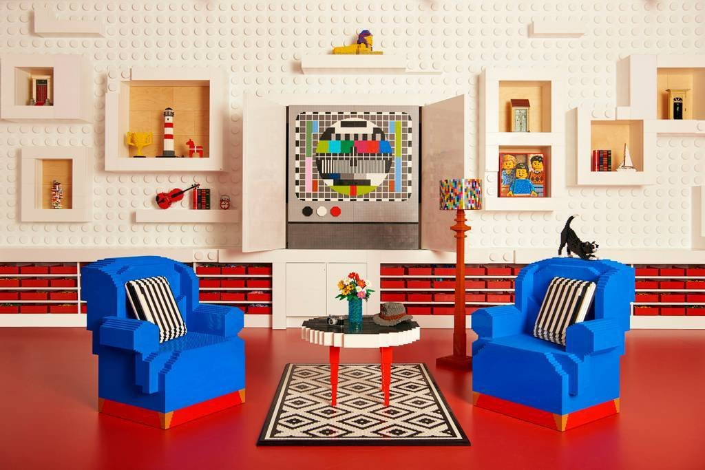 Living Room, Chair, Coffee Tables, Floor Lighting, Lamps, and Rug Floor  Photo 6 of 10 in Spend an Unforgettable Night in Denmark's New LEGO House