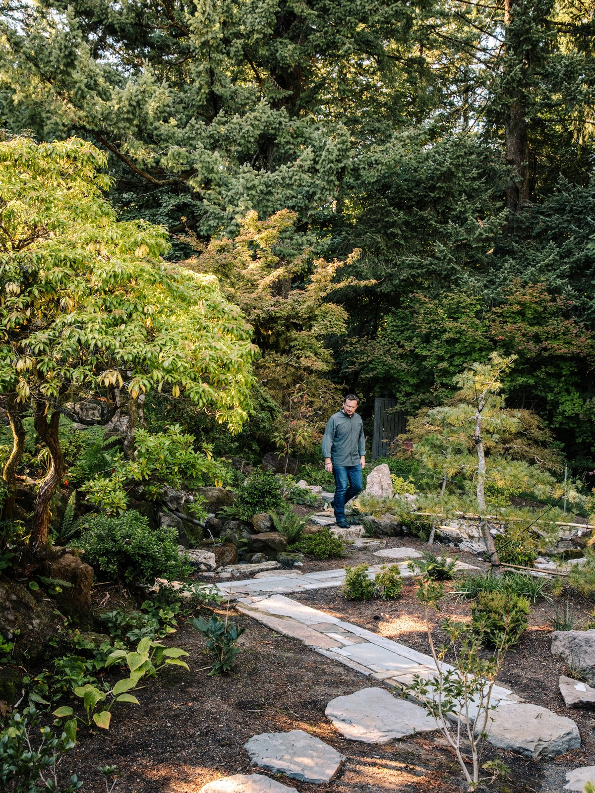 Outdoor, Walkways, Gardens, Garden, Trees, Shrubs, Hardscapes, and Boulders Uncovered paths lead straight down into the forest.  Photo 14 of 15 in Nearly 80 Years Later, an Architect Rescues a Japanese-Inspired  Masterwork Designed by His Father