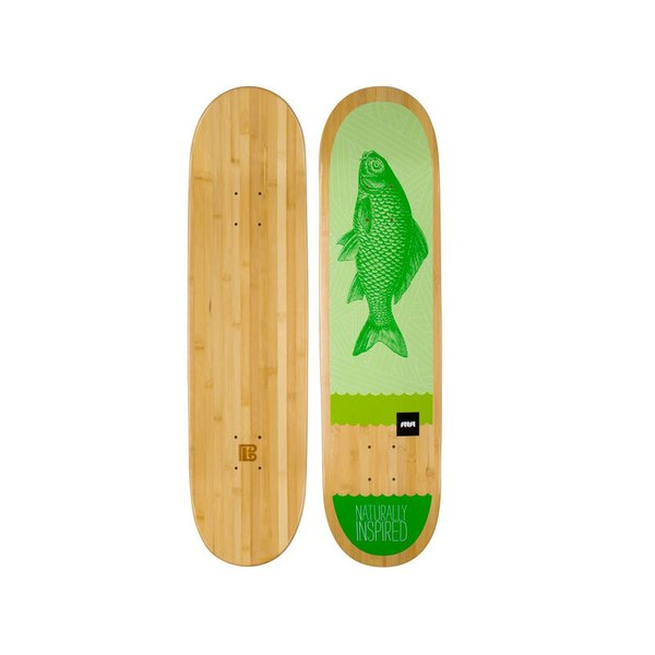 Bamboo Skateboards Green Fish Graphic Skateboard Deck