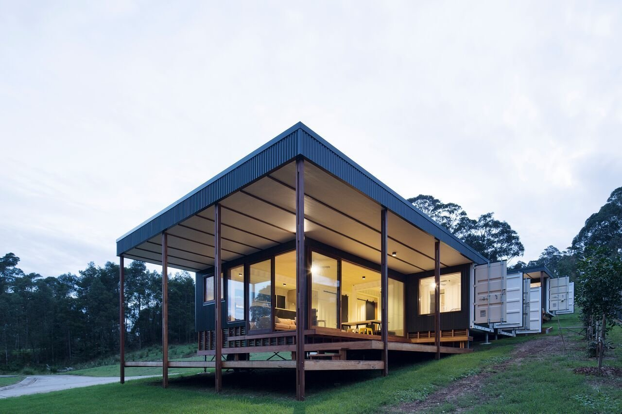 Exterior, Shipping Container Building Type, Wood Siding Material, Metal Siding Material, Flat RoofLine, Glass Siding Material, and House Building Type  Photo 2 of 10 in A Shipping Container Home in Australia Made With Eco-Friendly Materials