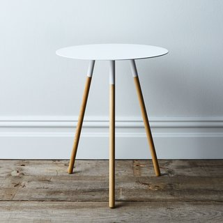 Steel & Wood Round Side Table