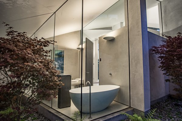 Bath Room and Freestanding Tub  Best Photos from Oceanfront Wonder in Carmel Asks $11.4M