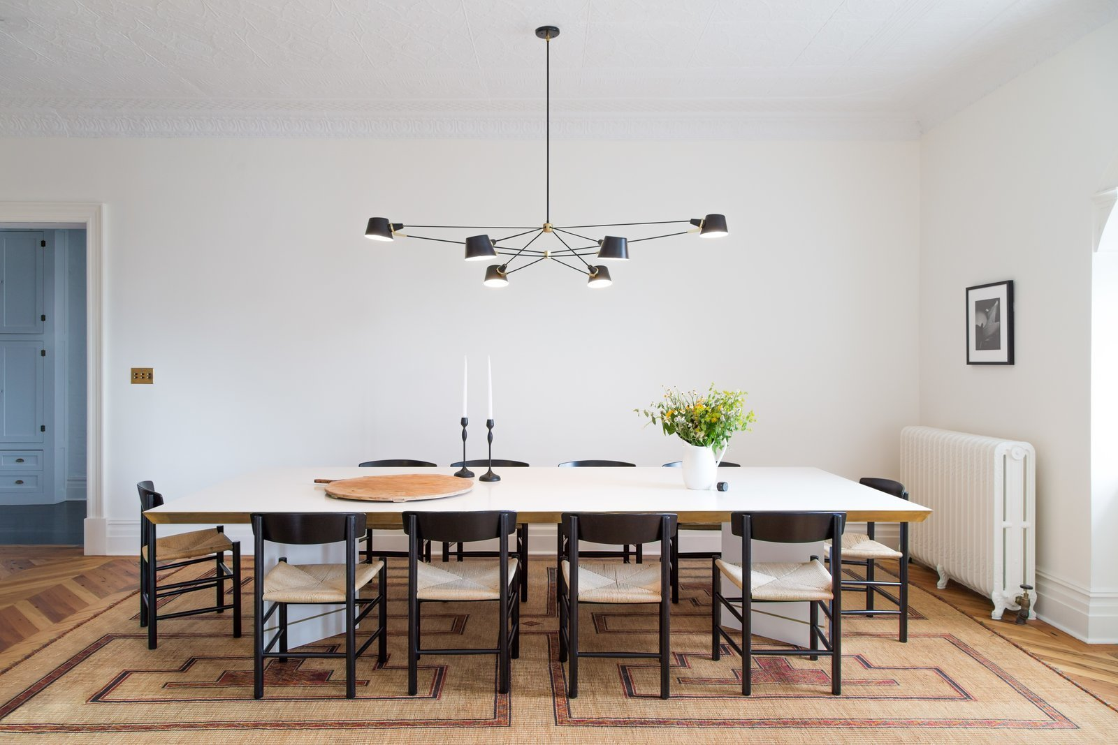 Dining Room, Table, Chair, Rug Floor, and Pendant Lighting  Photo 8 of 22 in A 19th-Century Schoolhouse in Brooklyn Becomes a Classy Apartment