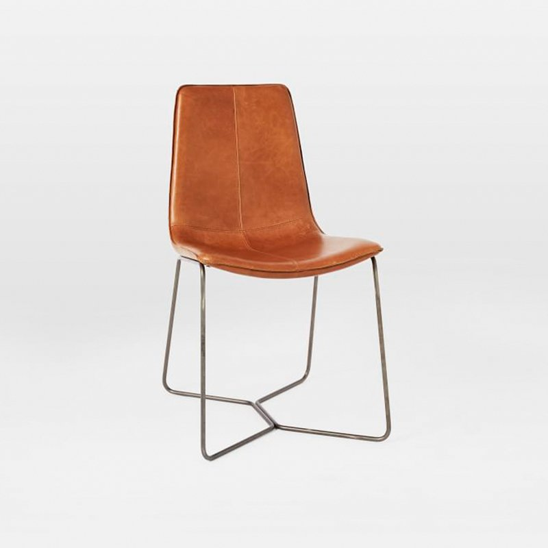 West Elm Leather Slope Dining Chair By West Elm   Dwell