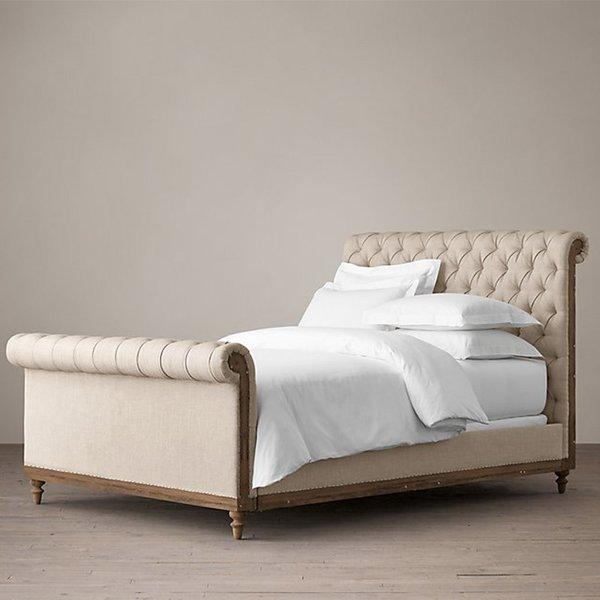 Restoration Hardware Deconstructed Chesterfield Sleigh Bed With Footboard