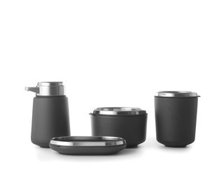 Bathroom accessories by Vipp</p><p>From $69</p><p>Vipp's sleek line of black washroom accessories provides the perfect finishing touch. Made of powder-coated and stainless steel, the collection includes a soap dispenser, soap dish, container, toothbrush holder, and tray (see above).<br>