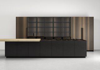 K21 kitchen by Boffi </p><p>Prices upon request Norbert Wangen's K21 kitchen system for Milan-based Boffi, introduced in 2017, offers extruded aluminum handles in an anodized matte-black finish and upper cabinets in dark wood and PaperStone black Slate.