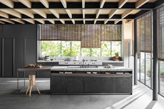 VVD kitchen collection by DADA </p><p>Prices upon request Belgian architect and designer Vincent Van Duysen's new kitchen system for DADA includes a number of black finishes for cabinets and worktops, such as Ferrovia steel (shown here on the short cabinets) and Pewter Metal Matt Lacquer (on the tall cabinets).