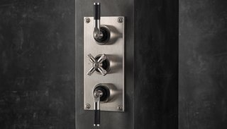 Industrial thermostatic shower valve trim by Samuel Heath </p><p>From $4,116 The Bauhaus-influenced LMK shower controls from British maker Samuel Heath come in a combination of satin nickel and matte-black chrome.