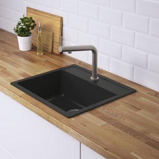 Hällviken sink by IKEA</p><p>$211 For a relatively low-cost splash of black in the kitchen, try IKEA's Hällviken sink. The stone powder and acrylic basin is completely non-porous for easy cleaning.