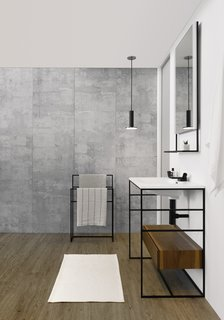 C2 vanity by Wetstyle</p><p>From $2,195 Designed by Pierre Belanger with Wetstyle Design Lab, the C2 vanity is made of a stainless steel frame with rungs on the sides for hanging accessories. It comes in two sizes, 24 and 30 inches, and has an optional matte-black finish.