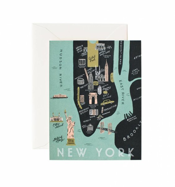 Manhattan Map Greeting Card by Rifle Paper Co.