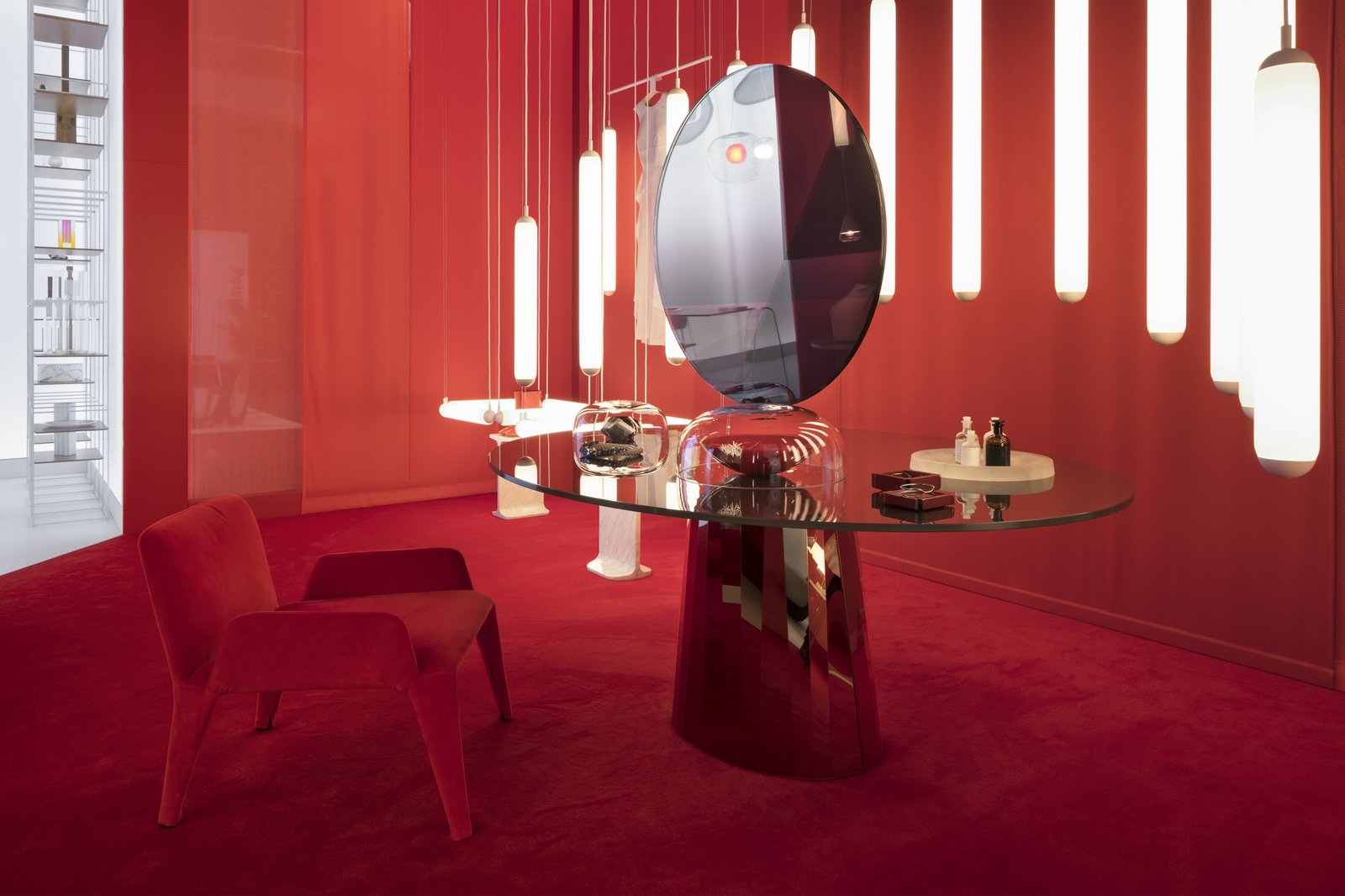 Dining Room, Chair, Table, Pendant Lighting, and Carpet Floor  Photo 3 of 9 in Q&A: Lucie Koldova Talks About Her Das Haus Concept For imm Cologne