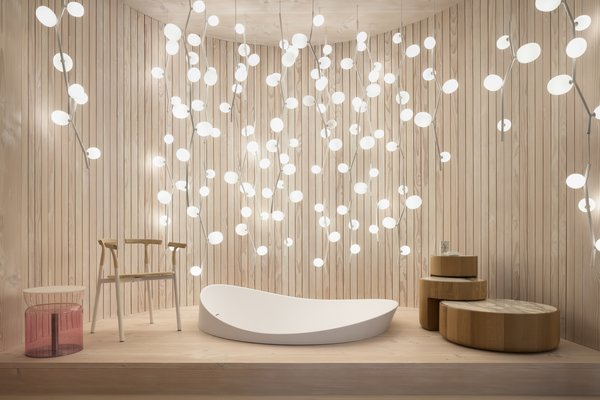 Living Room, Chair, End Tables, Light Hardwood Floor, and Pendant Lighting  Photo 5 of 9 in Q&A: Lucie Koldova Talks About Her Das Haus Concept For imm Cologne