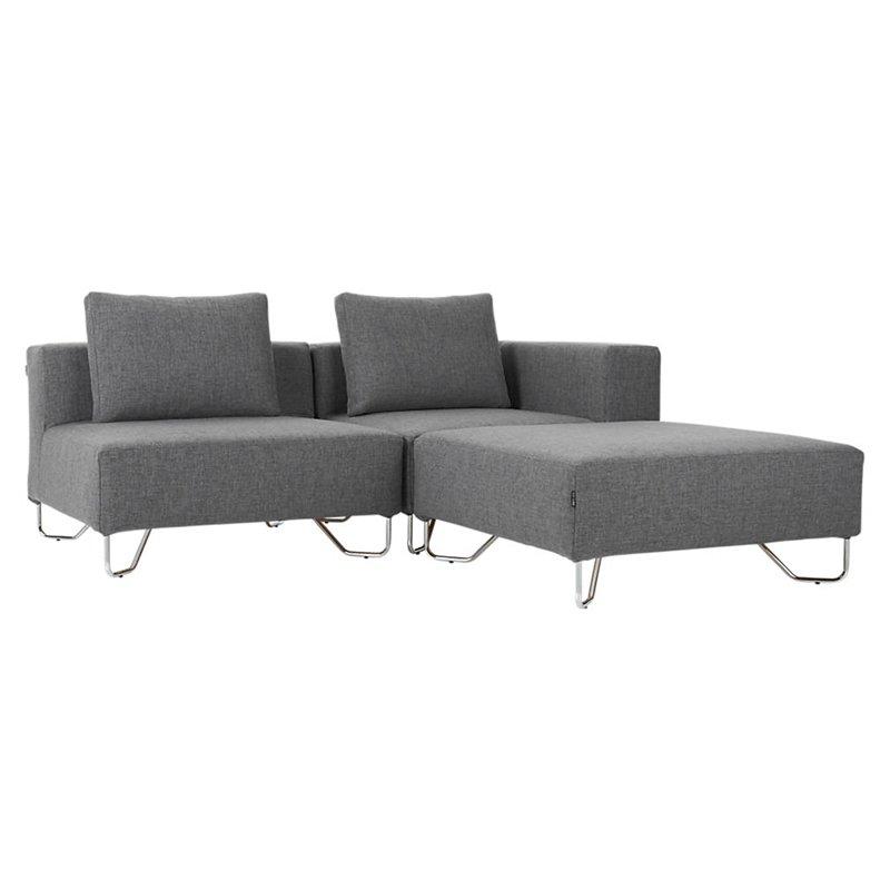Cb2 Lotus 3 Piece Grey Sectional Sofa