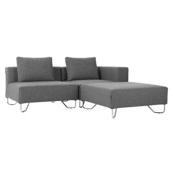 CB2 Lotus 3-Piece Grey Sectional Sofa