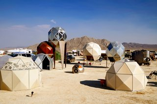 16 Otherworldly Photos of Burning Man Architecture - Photo 9 of 16 - Metal Pods  by Scott Parenteau
