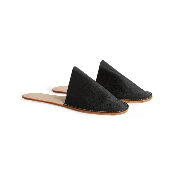 Women's Slide-On Leather Slippers (Black)