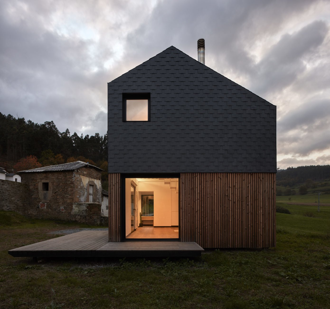 Exterior, House Building Type, Prefab Building Type, Wood Siding Material, and Saltbox RoofLine  Best Photos from This Affordable Prefab in Spain Only Took 5 Hours to Assemble