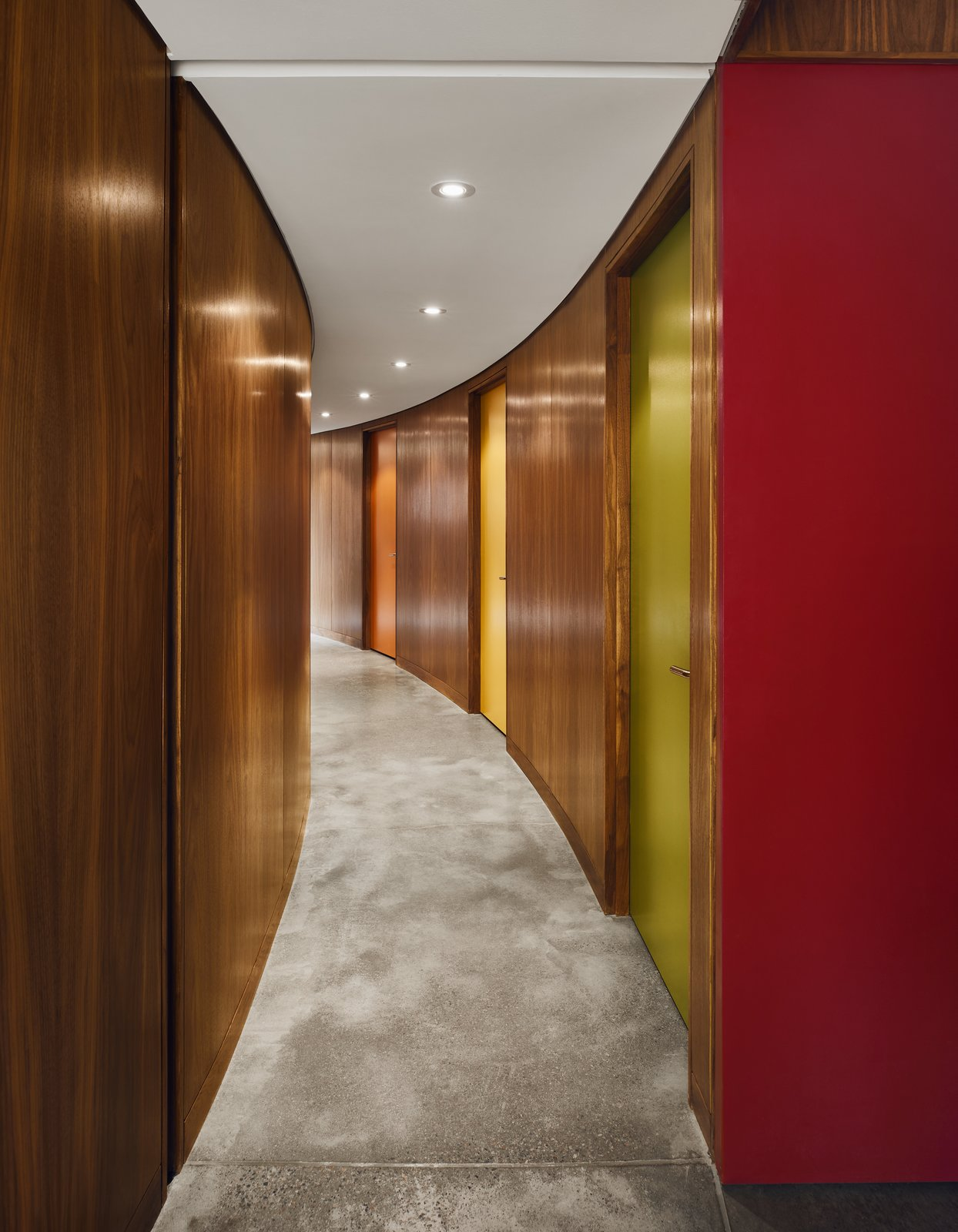 Hallway and Concrete Floor  Photos from A Curved House in Ontario Bends 100 Degrees for Forest Views